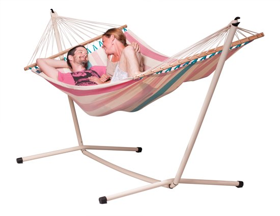 Hangmatset: 2-persoons hangmat met spreidstok COLADA lychee + Standaard voor 2-persoons hangmat  NEPTUNO