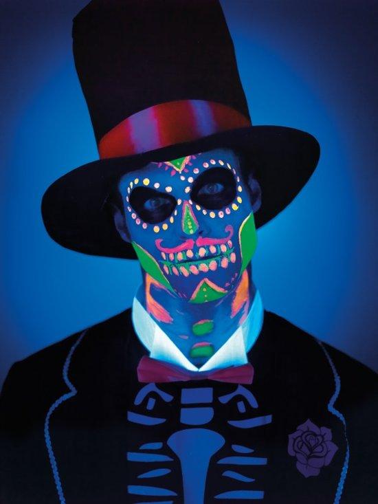 Neon Day of the Dead Liquid Latex Kit with 4 Colour UV Make Up Pots & 4 Sponge 4 x 28ml/1oz