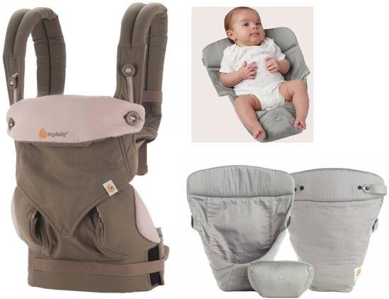 Ergobaby Geboortepakket: babydraagzak 360 Lila/taupe incl. verkleinkussen Original grey