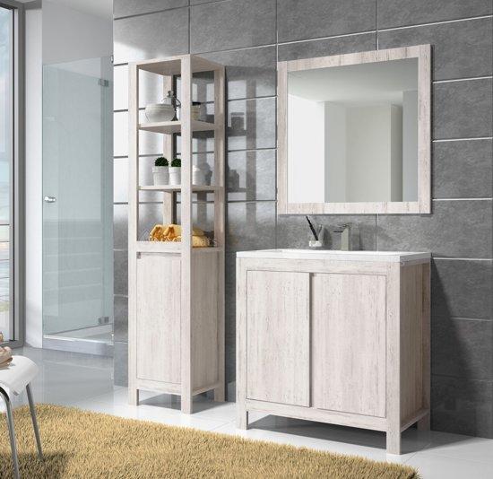Badkamermeubel cairo 80cm inclusief spiegel for Staande spiegel hout