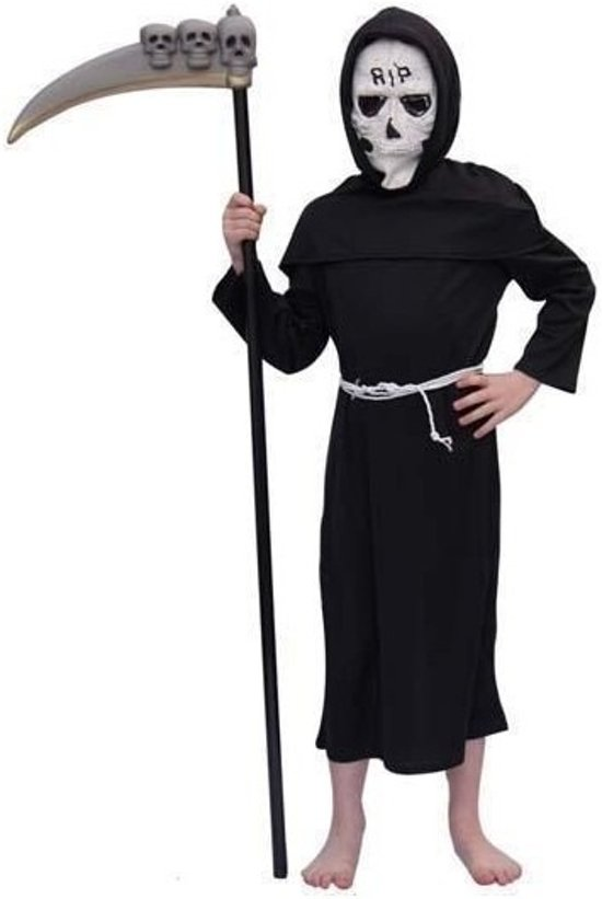 Halloween Kostuum Magere Hein.Kinder Kostuum Magere Hein 164