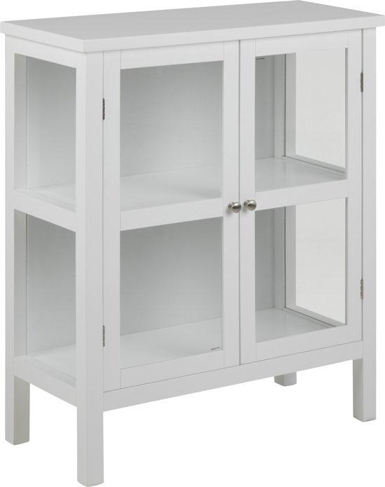 Etor vitrinekast laag met 2 glazen deuren, in wit.