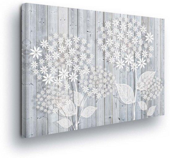 Floral White Canvas Print 100cm x 75cm