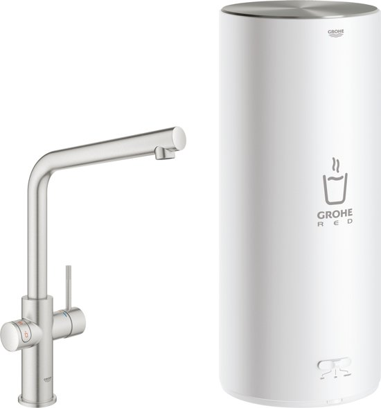 GROHE Red New Duo Kokend water kraan - Keukenkraan + L-size boiler - L-Uitloop - SuperSteel (RVS)