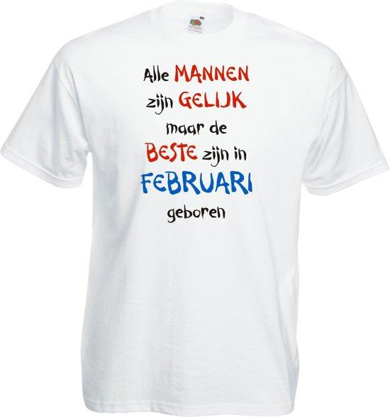Mijncadeautje - T-shirt - wit - maat L - Alle mannen zijn gelijk - februari