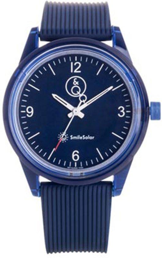 Q&Q Smile Solar 651015 horloge 100 meter 40 mm donker blauw