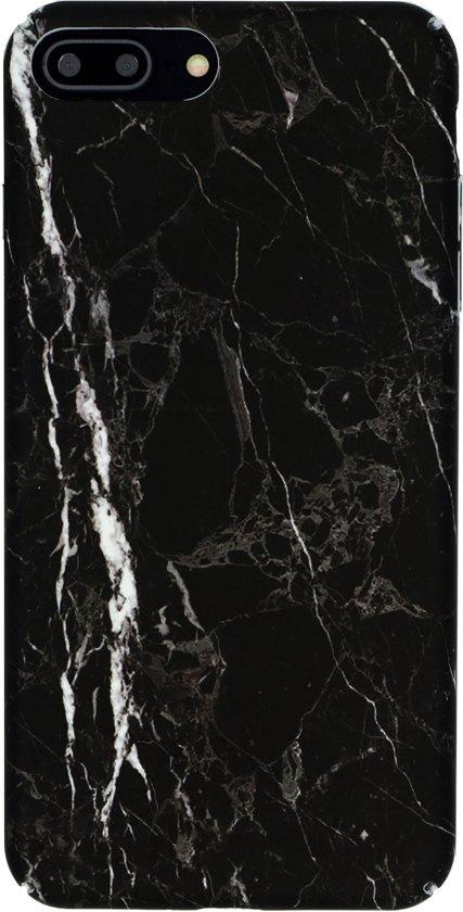 Luxe Marmer iPhone 7 Plus - iPhone 8 Plus Hoesje Marmer - Zwart - Wit - Case - Hard Back Cover met Matte Look