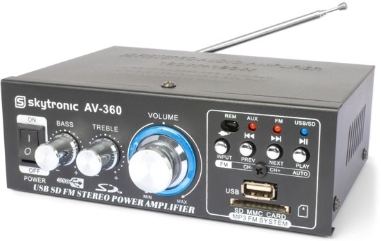 Compacte versterker - SkyTronic AV-360 versterker 2x 40W met mp3 speler, radio en afstandsbediening