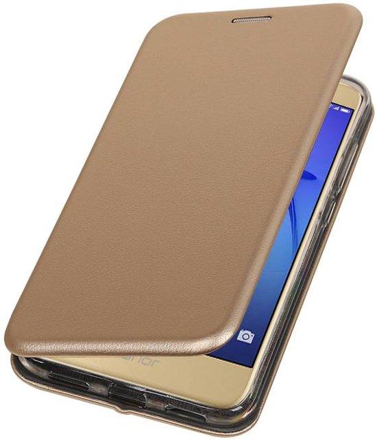 BestCases.nl Goud Premium Folio leder look booktype smartphone hoesje voor Huawei P8 Lite 2017 in Jousterp