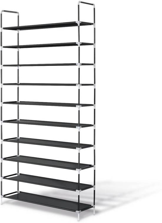 LifeGoods XXL Schoenenrek 10 Laags - Opbergsysteem voor 50 Paar Schoenen - Schoenenkast 10 Etages - Schoenenplank Opberger - Stevig Staand Opberg Rek - Shoe Rack Organizer – Kunststof – Zwart