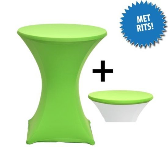 Cover Up Statafelrok Stretch, met rits - Ø80-85cm - Incl. Topcover - Limegroen