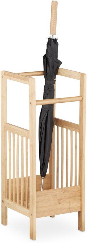 relaxdays - paraplubak bamboe - paraplustandaard hout - natuurlijk design