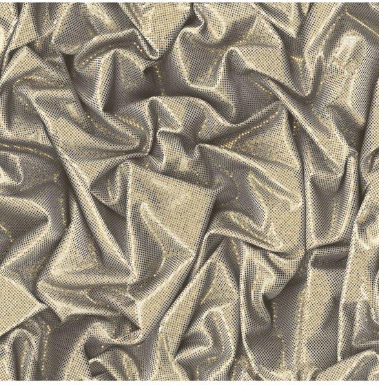 Faux Semblant glitterstof bei/goud behang (vliesbehang, goud)