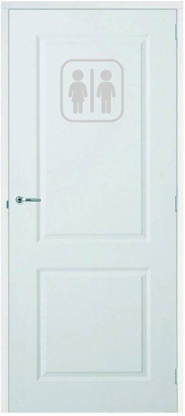 Deursticker WC -  Zilver -  20 x 20 cm  - Muursticker4Sale