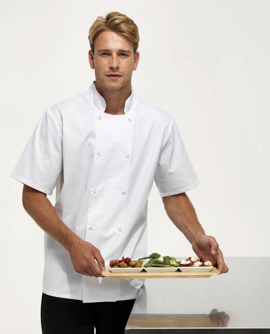 Premier Studded front s/s chef's jacket, Kleur Wit, Maat S