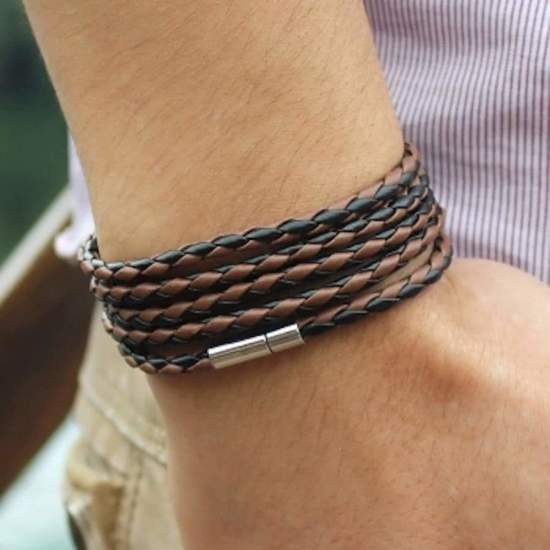 Bijoux Silent Chic Armband Wikkelarmband - Heren - Bruin/Zwart - 92 cm