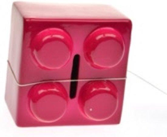 Stoobz spaarblokje - spaarpot lego roze