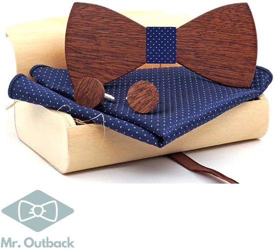 Mr. Bow Tie - Houten vlinderstrik met Manchetknopen en Pochet - Blauw - hout zonder motief