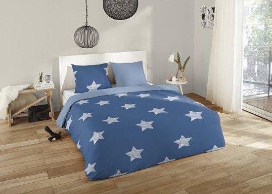 Bol dekbedovertrek stars blue flanel persoons