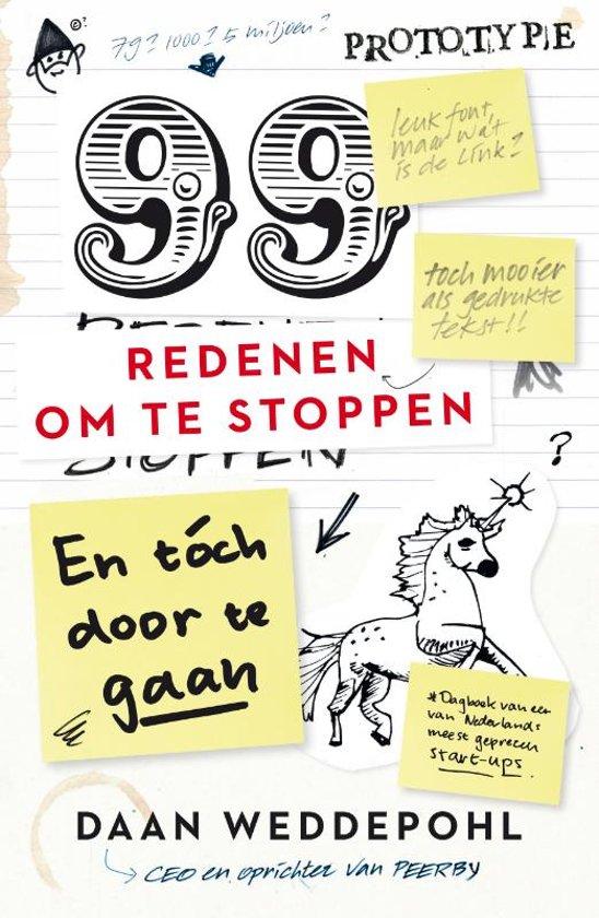 Boek cover 99 redenen om te stoppen, en toch door te gaan van Daan Weddepohl (Hardcover)