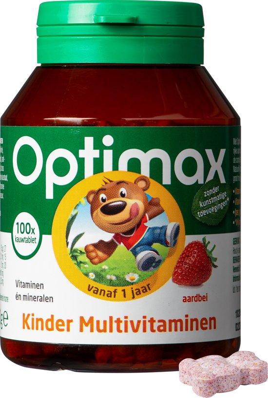 Optimax Kinder Multi aardbei - 100 Kauwbeertjes