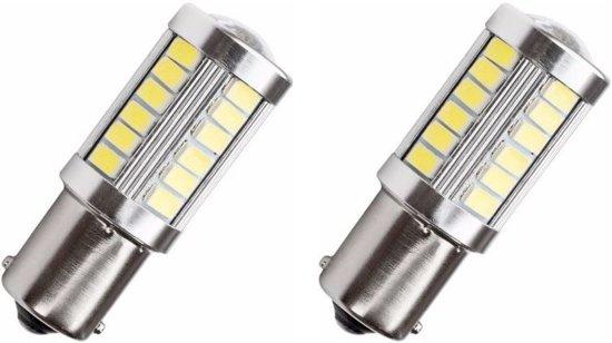 BA15S autolamp 2 stuks   LED knipperlicht   33-SMD xenonwit met lens   12V
