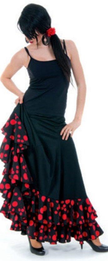 Spaanse Flamenco Luxe Rok - Maat S - Stippen en Volantes - Verkleed Rok