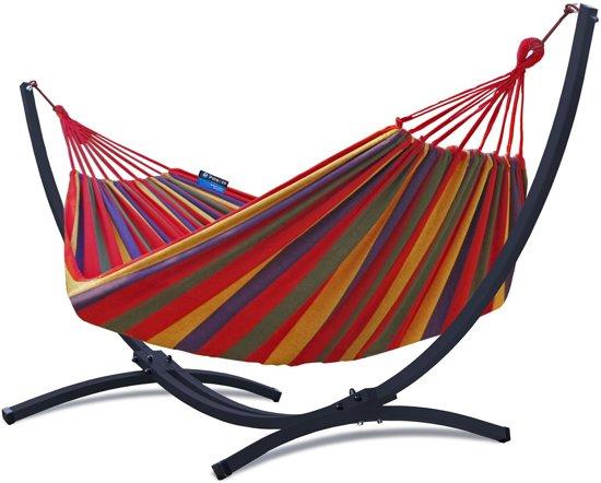 Grande Premium-Onverwoestbare verzinkte Tweepersoons Hangmatset / 2-persoons Hangmat met standaard