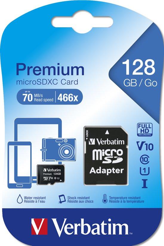 Verbatim Premium microSDXC geheugenkaart 128GB Class 10 + Adapter
