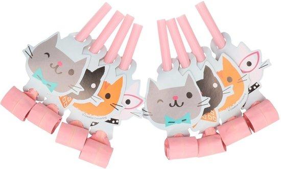 8x Katten/poezen thema roltongen - feest toetertjes Valentinaa