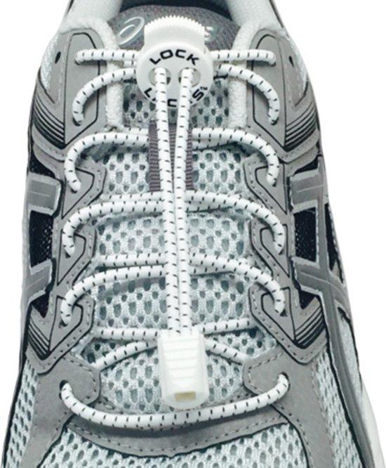 Lock Laces Elastische Schoenveters - Elastiek Veters - Hardlopen - Running - Sport - Dames - Heren - Kinderen - Kids - Wit - 2 Stuks Voor 1 Paar Schoenen