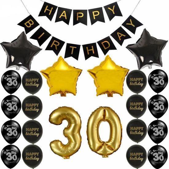 Ballonnenset hoera 30 jaar goud zwart joni 39 s for Goud zwart versiering