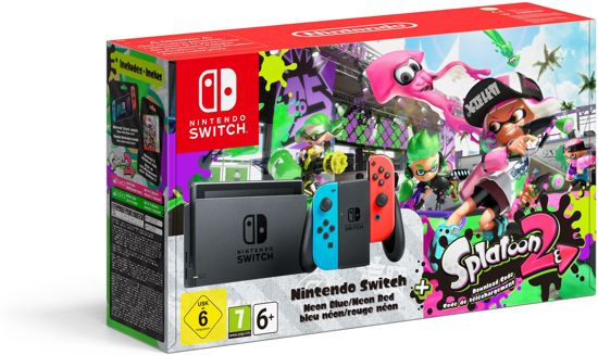 Nintendo Switch Console Splatoon 2 Bundel 32 GB - Blauw/Rood