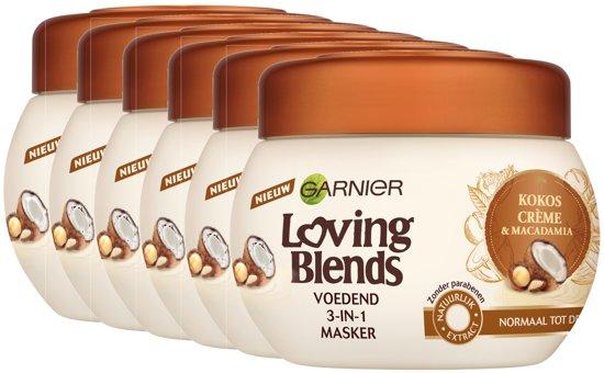Garnier Loving Blends Kokosmelk & Macadamia Haarmasker - 6 x 300 ml - Voordeelverpakking