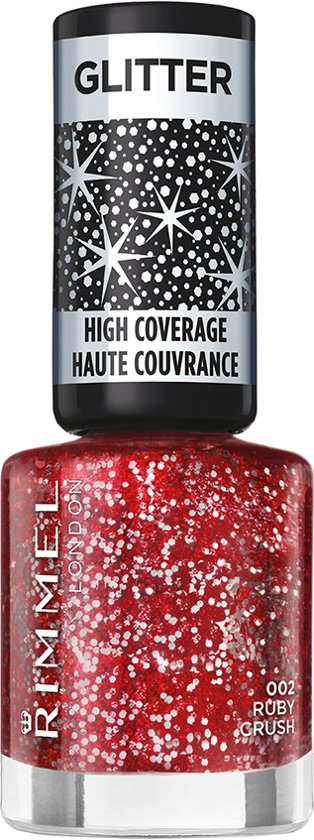 Rimmel London Glitter High Coverage - 2 Ruby Crush - Rood - Nagellak