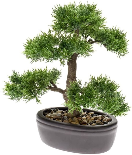 Emerald Kunstplant ceder bonsai groen 32 cm 420001