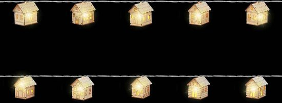 Luca LightingString House B/O Wood L5.5W4.5H6 Warm White Led 10L