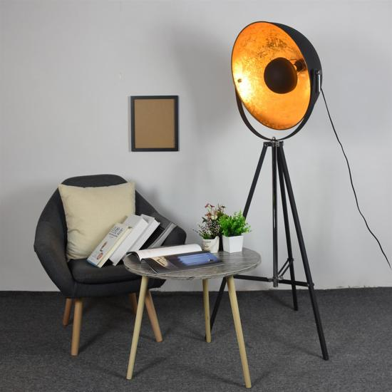 Groenovatie Nice Industrieel Design Tripod Vloerlamp E27 Fitting - 160x65 cm - Goud / Zwart