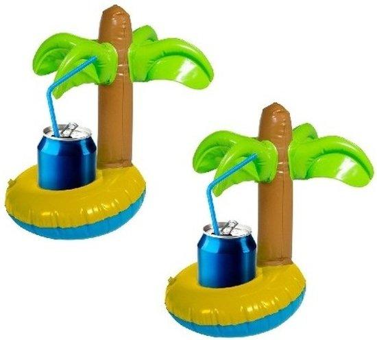 2x Opblaasbare drankhouders palmboom - Blikjeshouder - Drankhouder Bekerhouder - Zwembad Drank Houders
