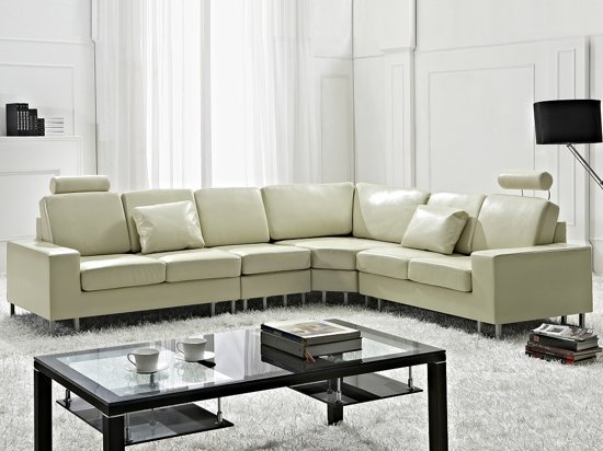 Hoekbank – Leren bank – Leren sofa – Lederen bank in beige – STOCKHOLM