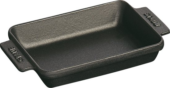 Staub schaal - mini - rechthoekig - 15 x 11 cm - zwart