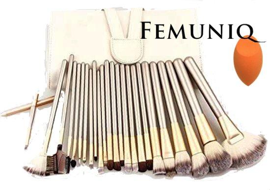 Femuniq - 24 Professionele Beige Goud Make up Kwasten Set in Etui plus bdoc spons - Oogschaduw Poeder -