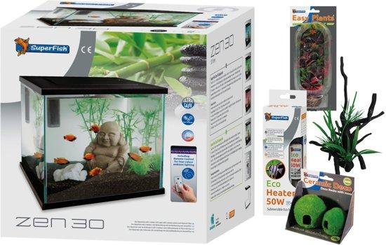 Aquariumset Zen 30 - Aquaria - 30 x 30 x 30 cm - 27 L - Zwart