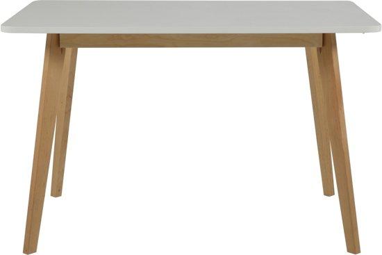 24Designs Tafel Ella - L120 x B80 x H75.5 cm - Wit tafelblad - Houten poten