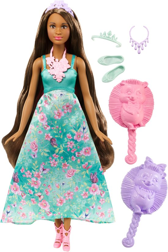 Barbie Dreamtopia Kleur en Stijl Prinses Brunette - Barbiepop