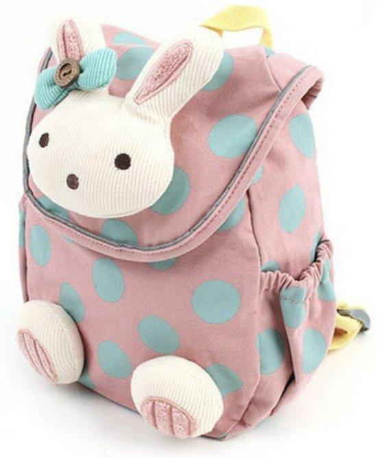7bb2fa5603a Kinder rugzak voor peuter en kleuter Konijn roze. Met GRATIS  veiligheidskoord
