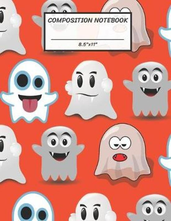 Composition Notebook: Children Active Ghost in Halloween, Wide Ruled paper Notebook, Notes Taking, Basic Lines Journal,8.5''x11'',100 Pages, F