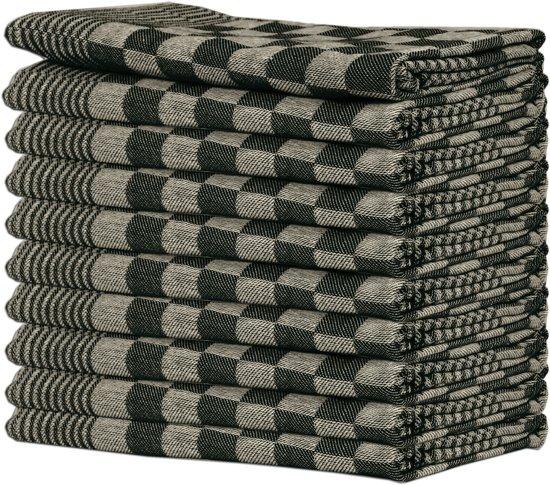 Queens theedoeken - 10-pack - 65 x 65 cm - Zwart