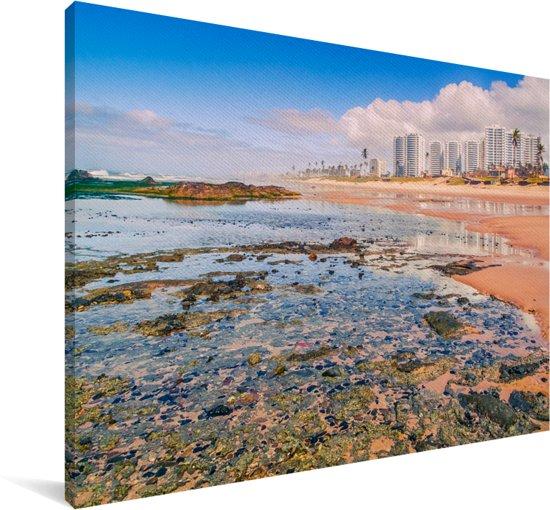 Het strand Patamares in Salvador bij Bahia in Brazilië Canvas 90x60 cm - Foto print op Canvas schilderij (Wanddecoratie woonkamer / slaapkamer)
