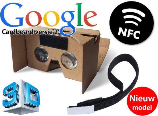 De nieuwste versie van de (Google) cardboard V2 inclusief hoofdband + NFC chip / Virtual reality 3D bril!